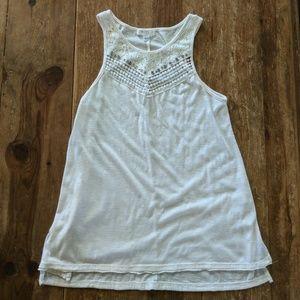 Tops - Cream lace front tank top